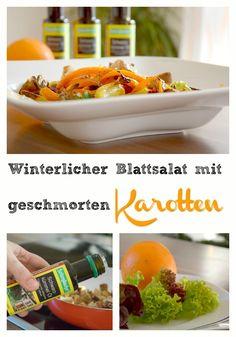 Winterlicher Blattsalat mit geschmorten Karotten und Pastinaken, schlanke Linie, voller Bauch, wenig Kalorien, Abnehmen, Schwarzkümmel Öl, Croutons.