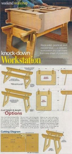 Knock Down Workstation Plans - Workshop Solutions Projects, Tips and Tricks   WoodArchivist.com #WoodworkingTips #woodworkingplans #woodworkinginfographic