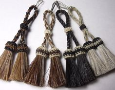 Adorable horse hair Double Tassels: easy snap-on clip by Knotatail