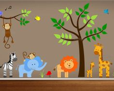 Jungle Wall Decal Tree with Mom and Baby Boy by paintlessdeco