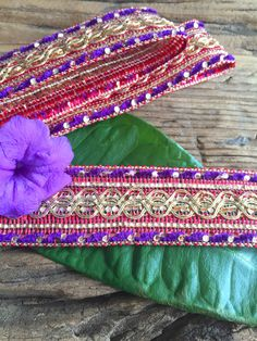 Purple, Red and Gold Trim for sewing projects, craft supplies, ribbon DIY projects