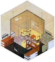"""""""The underlying drawing is by Herbert Bayer and is a blueprint for the Director's office at the Bauhaus in Weimar in 1923."""""""