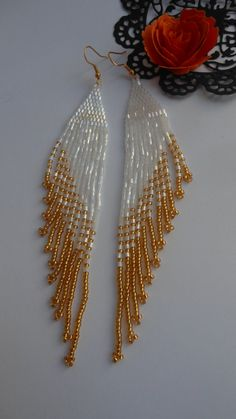 Beaded earrings Extra long earrings Black by BeadedJewelryNM Seed Bead Jewelry, Seed Bead Earrings, Diy Earrings, Black Earrings, Fringe Earrings, Hoop Earrings, Beaded Necklace, Beaded Earrings Patterns, Beading Patterns