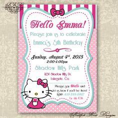 Hello Kitty Birthday Invitation by BradfordRoadDesigns on Etsy