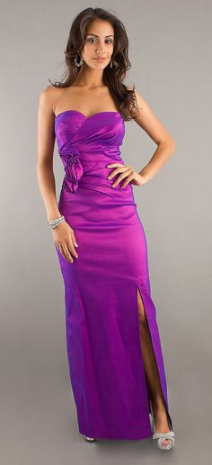 Sexy Long Purple Evening Dress Strapless Sweetheart Front Slit $108.99