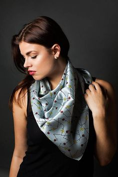 Silver gray scarf.  Square scarf. Silk satin scarf. Flowers.