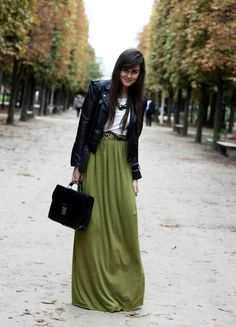 Green skirt with leather jacket