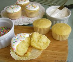 Dollhouse Bake Shoppe: Best Homemade Yellow Vanilla Cupcakes Ever (Versatile fluffy vanilla cupcakes from scratch with a variety of frosting variations!)