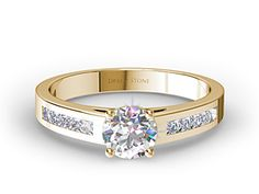 Channel-Set Princess Diamond Engagement Ring In Yellow Gold