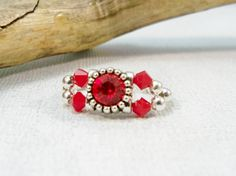 Red Stretch Band Crystal Ring, Stretch Band Ring, Women's Ring, Red Ring, Handmade Ring, Stretch Ring, Cocktail Ring, by babbleon on Etsy