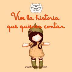 Vive la historia que quieres contar  #gorjuss #santoro #vivir #historias #cuentame #frasedeldia Precious Moments Quotes, Spanish Quotes, Cute Girls, Origami, 1, Inspirational Quotes, Letters, In This Moment, Dolls
