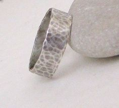 Hammered Wide Oxidized Silver Ring Band Wedding by SilverSmack