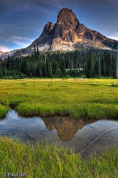 Liberty Bell Peak catches last light above a medow creek, North Cascades National Park, Washington