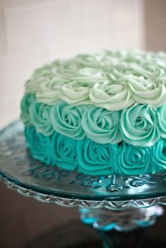 Aqua (teal, Tiffany Blue or turquoise) Ombre Rose Cake. Would be GORGEOUS as a baby shower cake! Pretty Cakes, Cute Cakes, Beautiful Cakes, Amazing Cakes, Sweet 16 Cakes, Wedding Shower Cakes, Bridal Shower, Baby Shower, Shower Rose