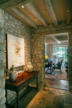 Beautiful use of stone and wood.