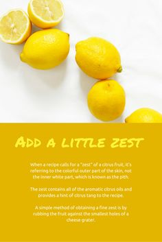 Cooking Tip: How to get the zest of a citrus fruit like lemon, and just the zest, for a recipe Cooking Tips, Cooking Recipes, Citrus Oil, Natural Remedies, Lemon, Baking, Fruit, Simple, Healthy