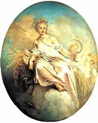 Deméter-Ceres, diosa-madre, diosa de cultivo, agricultura, fertilidad, abundancia (y prosperidad del imperio en roma) hermana de Zeus con el cual tuvo su hija Perséfone, la cual raptó Hades