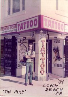 Where I got my first tattoo! The artist was Dave Orlowski and a skinhead named Snickers drew the picture. Long Beach Pike, Long Beach California, California Dreamin', Vintage California, 1 Tattoo, Tattoo Memes, Tattoo Shop, Famous Shop, Estilo Retro