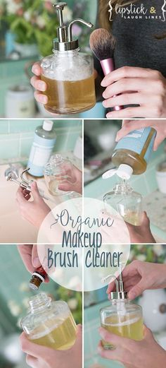Homemade Organic Makeup Brush Cleaner: Unscented Castile soap (purchase, here) Tea Tree oil (a natural antibacterial disinfectant)