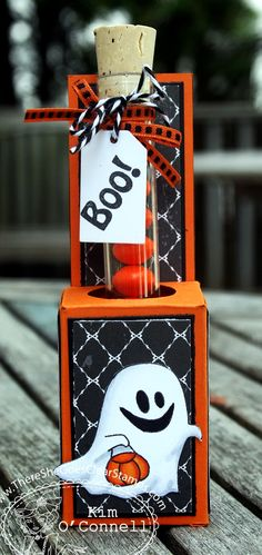 Boo to You Test Tube Candy treat Holder by MrsOke - Cards and Paper Crafts at Splitcoaststampers Dulceros Halloween, Halloween Projects, Halloween Cards, Holidays Halloween, 3d Projects, Halloween Goodies, Halloween Treat Holders, Halloween Treat Bags, Halloween Favors