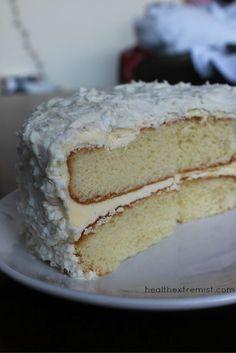 Paleo Vanilla Coconut Flour Cake Recipe - Gluten free, grain free, and dairy free Coconut Flour Cakes, Cake Flour, Paleo Dessert, Healthy Desserts, Sin Gluten, Baking Recipes, Cake Recipes, Flour Recipes, Healthy Birthday Cakes