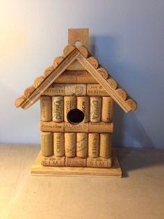 Wine cork and wood wooden birdhouse bird by LesliesCorkCreations