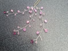 Hand crafted Hairpins - pink Czech crystals on silver plated wire