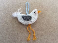 My crocheted seagull, copied from Lucy at Attic 24.  I love this, so pleased with the result, looks great in the beach hut.