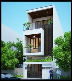 mau nha pho dep 3 tang mat tien 4m House Outside Design, House Front Design, Modern House Design, Small Bungalow, Village House Design, Townhouse Designs, Home Building Design, Dream House Exterior, House Elevation