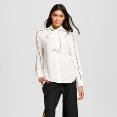 Women's Long Sleeve Piped Bow Blouse - Who What Wear™