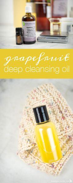 Grapefruit Deep Cleansing Oil - Humblebee & Me Homemade Facials, Homemade Skin Care, Diy Skin Care, Organic Skin Care, Natural Skin Care, Organic Makeup, Natural Face, Natural Beauty, Diy Cleansing Oil