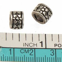 Round Beads 5mm Big Hole Charms Bracelets Necklaces DIY Vintage Silver Flower Metal Fashion Gifts Jewelry Accesories 8*6mm 50pcs //FREE Shipping Worldwide //