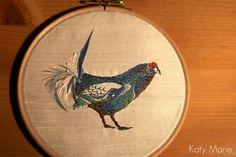 Hand Embroidered Bird, Framed