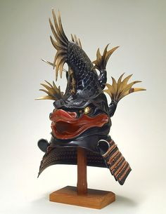 "Shachihoko-Shaped Kabuto (Samurai helmet). Early Edo period, 18th century. From the exhibition: ""art of the Samurai period"" at the Tokyo Fuji Art Museum."