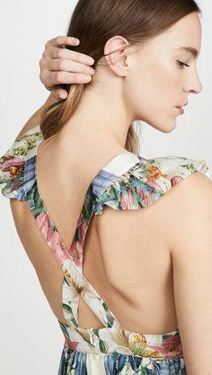 Carolina K Penelope Dress Designer Swimwear, India Fashion, Fitted Bodice, Ethical Fashion, Flutter Sleeve, Floral Prints, V Neck, Dresses, Style