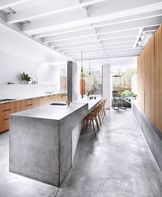 White ceiling and beams in kitchen.