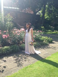 KMR Bride Hannah wearing her bespoke wedding gown. Hannah and Phil August 2014.