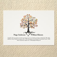 Autumn Inspired Wedding Invitations, Fall Wedding Theme Invites