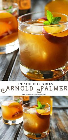 Peach Bourbon Arnold Palmer, a delightful twist on a classic refreshment. Take an Arnold Palmer & add bourbon & peach liqueur for a perfect summer cocktail. via @KleinworthCo