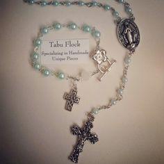 #rosary#bracelet#set #cross#jewelry#mintgreen