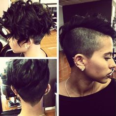 Undercut hairstyles for women is one of top trends! It isn't for everyone but check out these pictures of undercut short hair to if it's for you. Undercut Curly Hair, Undercut Hairstyles Women, Undercut Women, Face Shape Hairstyles, Undercut Pixie, Shaved Hairstyles, Messy Short Hair, Short Hair Cuts, Thick Hair
