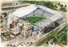 Stamford Bridge in Art, home of Chelsea F.C. Great gifts @ sportsstadiaart.com