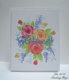 Image result for images of cards made with Stampendous Single Rose in a Vase