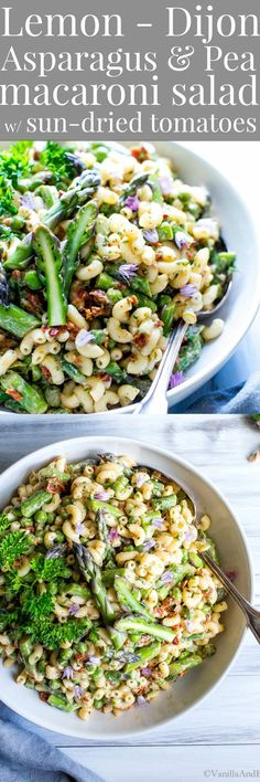 Lemon-Dijon Asparagus and Pea Macaroni Salad - #Plantbased #Vegetarian #Potluck #Picnic #BBQ