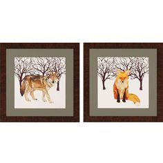 Wolf/Fox 2 Piece Framed Painting Print Set