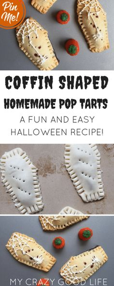 These homemade pop tarts are coffin shaped and a perfect fun Halloween food! The… These homemade pop tarts are coffin shaped and a perfect fun Halloween food! They're great as a special breakfast or even as a fun Halloween recipe. Buffet Halloween, Dessert Halloween, Hallowen Food, Halloween Dinner, Halloween Food For Party, Halloween Food Recipes, Homemade Halloween Treats, Halloween Halloween, Diy Halloween Games