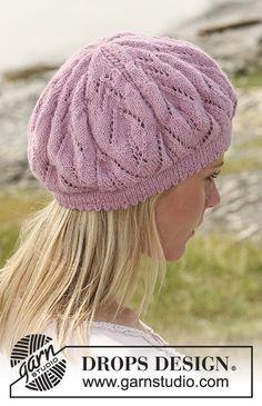"DROPS Basque hat with lace pattern in ""Alpaca"". Free pattern by DROPS Design. Bonnet Crochet, Knit Crochet, Crochet Hats, Drops Design, Lace Knitting, Knitting Patterns Free, Free Pattern, Lace Patterns, Crochet Stitches"