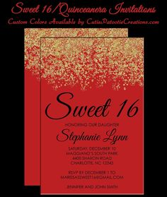 Red and Gold Sweet 16 Birthday Party Invitation, Bat Mitzvah Invitation, Quinceanera Invitations. Great for Hollywood Themed Party by Cutie Patootie Creations - SHOP - www.cutiepatootiecreations.com