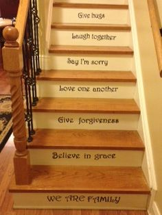Words on Stairs...I DID IT!  Here's my version!  Link to my blog for a tutorial on how I did it.