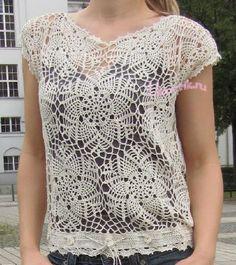 Buenos días Chicas Guapas Crocheteras Les comparto mas blusas que me han gustado y entre ellas una que había estado buscando el patrón y es...